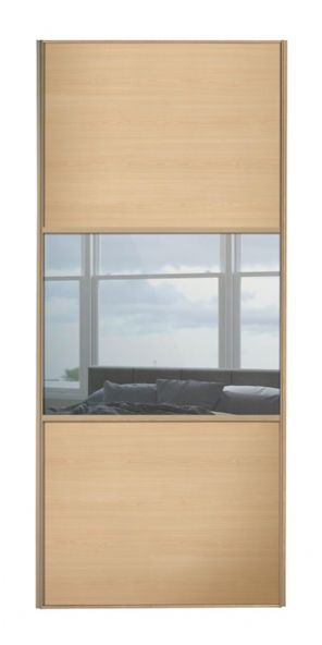 Wideline sliding wardrobe door, Maple frame, Maple-Mirror-Maple